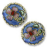 Machine Made Cloisonne Bead 12mm Round Pillow Light Blue (1-Pc)