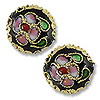 Machine Made Cloisonne Bead 12mm Round Pillow Black (1-Pc)