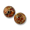 Handmade Cloisonne Bead 8mm Round Red (2-Pcs)