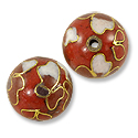 Handmade Cloisonne Bead 12mm Round Red/White (1-Pc)