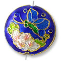 Handmade Cloisonne Puffed Round Bead 18mm Royal Blue/Pink Flower (1-Pc)