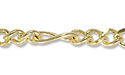 Figaro Link Chain 3mm Gold Plated (Priced per Foot)