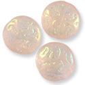 Czech Pressed Glass Button Bead 13mm Pink AB (1-Pc)