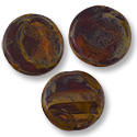 Czech Flat Round Bead 15mm Matte Red Travertine (1-Pc)