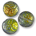 Czech Pressed Glass Button Bead 13mm Pewter Hot Ice (1-Pc)