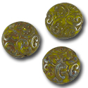 Czech Pressed Glass Button Bead 13mm Travertine Olive/Rust (1-Pc)
