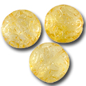 Czech Pressed Glass Button Bead 13mm Citrus Orange (1-Pc)