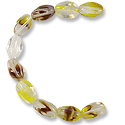 Czech Polished Oval Twist 5x7mm Crystal/Yellow/Brown Mix (7