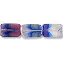 Czech Polished Rectangles 12x18mm Crystal/Pink/Blue-Green Mix (8