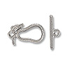 Toggle Clasp - Pear 20x10mm Pewter Antique Silver Plated (Set)