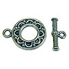 15x19mm Antique Silver Plated Roulette Loop Pewter Toggle Clasp (Set)