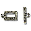 Toggle Clasp - Rectangle 9x15mm Pewter Silver Plated (Set)
