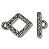 Toggle Clasp - Diamond 17x20mm Pewter Antique Silver Plated (Set)