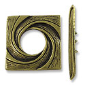 Toggle Clasp - 29x28mm 3-Strand Pewter Antique Brass Plated (Set)