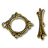 Toggle Clasp - 18x20.5mm Pewter Antique Gold Plated (Set)