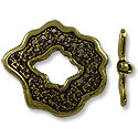Toggle Clasp - 30x27mm Pewter Antique Brass Plated (Set)