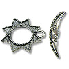 Toggle Clasp - Sun/Moon 17x20mm Pewter Silver Plated (Set)