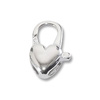 Heart Clasp 14x7mm Sterling Silver (1-Pc)