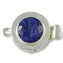 Designer Clasp Faceted Dyed Sapphire Sterling Silver Filled (1-Pc)