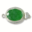 Designer Clasp Faceted Oval Dyed Emerald Sterling Silver Filled (1-Pc)