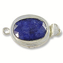 Designer Clasp Oval Faceted Dyed Sapphire Sterling Silver Filled (1-Pc)