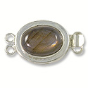 Designer Clasp 2 Strand Faceted Labradorite Oval Sterling Silver Filled (1-Pc)