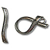 Toggle Clasp - Ribbon 21x11mm Pewter Antique Silver Plated (Set)