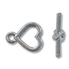 Toggle Clasp - Heart 9x16mm Pewter Silver Plated (Set)
