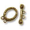 Toggle Clasp - 2-Strand 19x14mm Pewter Gold Plated (Set)