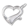 Sterling Silver Heart Clasp 19mm (1-Pc)