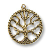Tree of Life Pendant  22mm Pewter Antique Gold Plated (1-Pc)