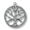 Tree of Life Pendant  22mm Pewter Antique Silver Plated (1-Pc)
