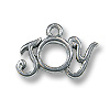 Charm - Joy 9x17mm Pewter Antique Silver Plated (1-Pc)