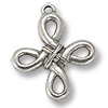 24x23mm Antique Silver Plated Cross Pewter Pendant