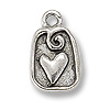 Charm - Heart 13x10mm Pewter Antique Silver Plated (1-Pc)