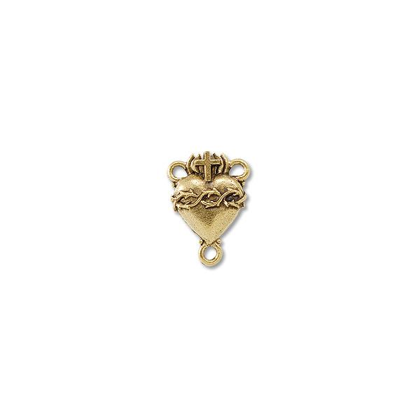 Centerpiece sacred heart rosary mm pewter ant gold