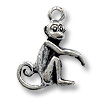 Charm - Monkey 14x13mm Pewter Antique Silver Plated (1-Pc)