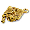 Charm - Graduation Cap 18x17mm Pewter Antique Gold Plated (1-Pc)