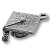 Charm - Graduation Cap 18x17mm Pewter Antique Silver Plated (1-Pc)