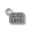 Charm - Made with Love 6x9mm Pewter Antique Silver Plated (1-Pc)