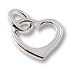 16mm Heart with Open Ring Sterling Silver Charm (1-Pc)