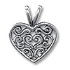 Charm - Baroque Heart 13x15mm Pewter Antique Silver Plated (1-Pc)