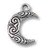 Charm - Crescent Moon 15x12mm Pewter Antique Silver Plated (1-Pc)