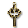 Charm - Holy Spirit Cross 28x18mm Pewter Ant. Gold Plated (1-Pc)
