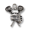 19x17mm Antique Silver Plated Lacrosse Pewter Charm (1-Pc)