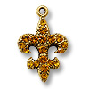 Charm - Fleur de Lis Topaz 20x15mm Pewter Antique Gold Plated (1-Pc)