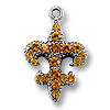 Charm - Fleur de Lis Topaz 20x15mm Pewter Antique Silver Plated (1-Pc)