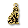 Charm - Spiral Cat 16x10mm Pewter Antique Gold Plated (1-Pc)