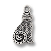 Charm - Spiral Cat 16x10mm Pewter Antique Silver Plated (1-Pc)
