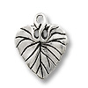 Charm - Violet Leaf 15mm Pewter Antique Silver Plated (1-Pc)